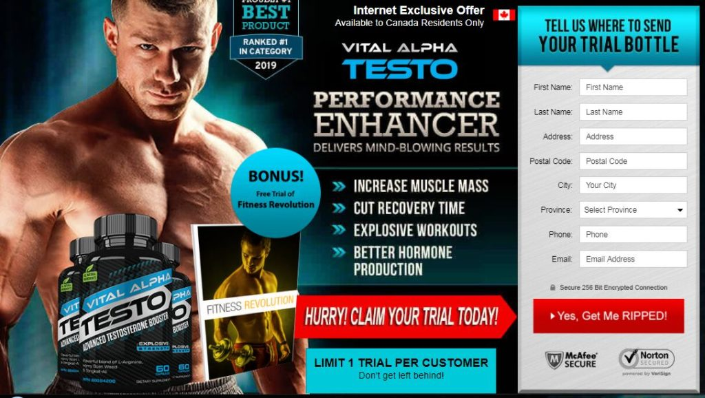 Vital Alpha Testo Canada [Updated 2020] - Testosterone Booster Pills Reviews & Where to Buy In
